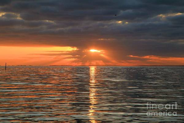 North Carolina Outer Banks Art Print featuring the photograph Sunrise Over Ripples by Adam Jewell