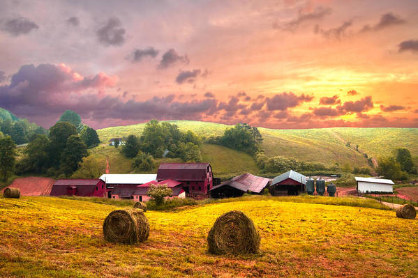 Barn Art Print featuring the photograph Sunrise Pastures by Debra and Dave Vanderlaan