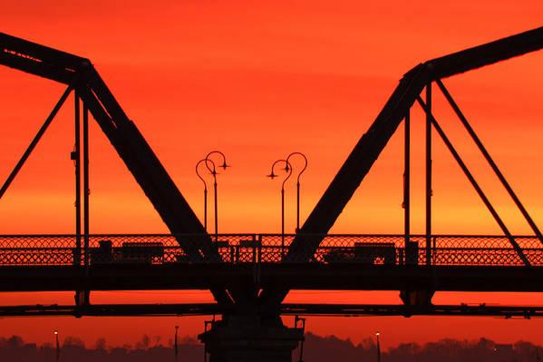 Walnut Street Bridge Art Print featuring the photograph Sunrise Walnut Street Bridge by Tom and Pat Cory