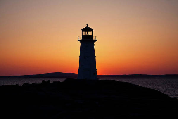 Lighthouse Art Print featuring the photograph Sunset At Peggy's Cove by Bill Lindsay