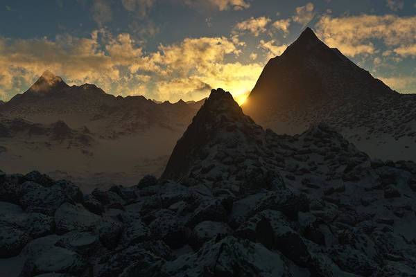 Hakon Art Print featuring the digital art Sunset In The Stony Mountains by Hakon Soreide