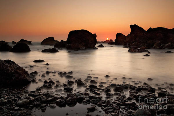 Water Photography Art Print featuring the photograph Sunset On A Rock by Keith Kapple