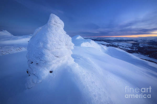 Norway Art Print featuring the photograph Sunset On The Summit Toviktinden by Arild Heitmann