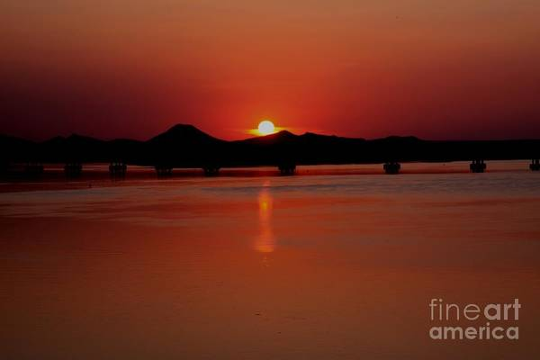 The Big Dam Bridge Print featuring the photograph Sunset Over The Big Dam Bridge by Joe Finney