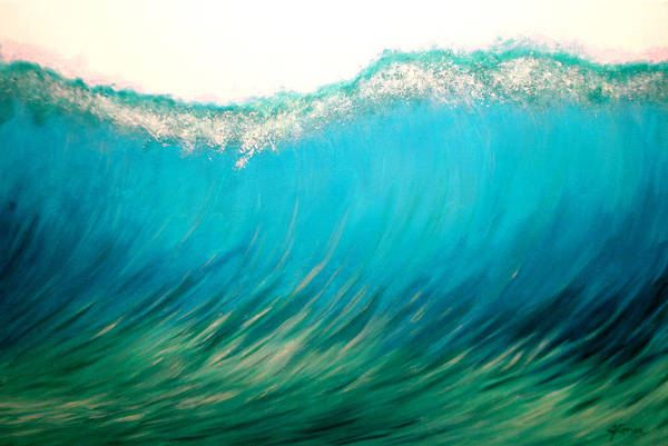 Wave Art Print featuring the painting Sunset Wave Five by Janie Grice