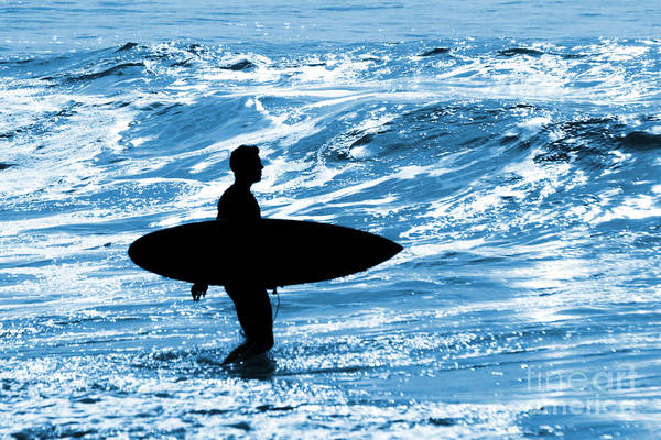 Blue Art Print featuring the photograph Surfer Silhouette by Carlos Caetano