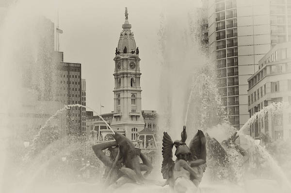 Fountain Art Print featuring the photograph Swann Memorial Fountain In Sepia by Bill Cannon