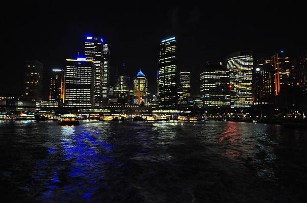 Nighttime Skyline Art Print featuring the pyrography Sydney Harbour Skyline by Jacques Van Niekerk