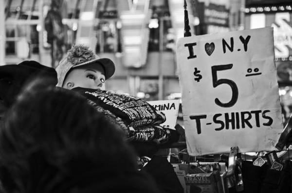 Times Square Art Print featuring the photograph T-shirts In Times Square by Tyler Estes