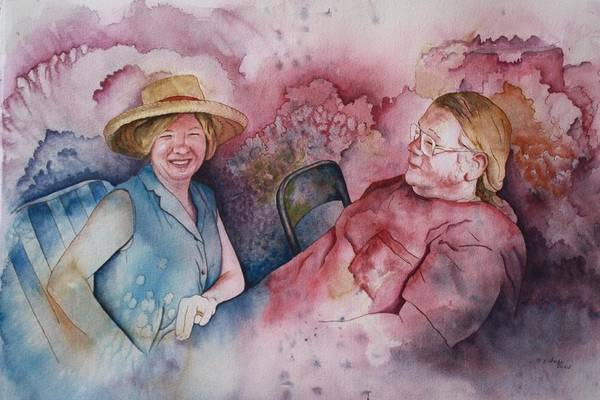 Character Portraits Art Print featuring the painting Taylor And Chuck At The Picnic by Patsy Sharpe
