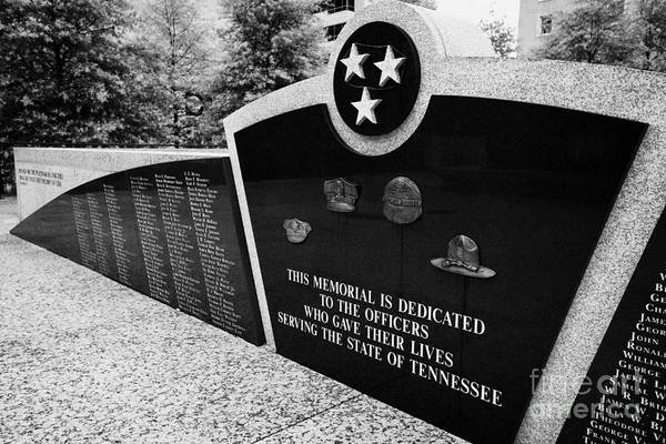 War Art Print featuring the photograph tennessee state police officer memorial war memorial plaza Nashville Tennessee USA by Joe Fox