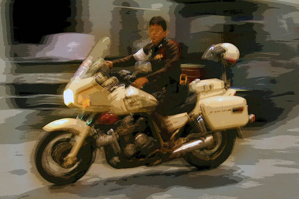 Interesting Art Print featuring the photograph Thai Motorbike Police by Kantilal Patel