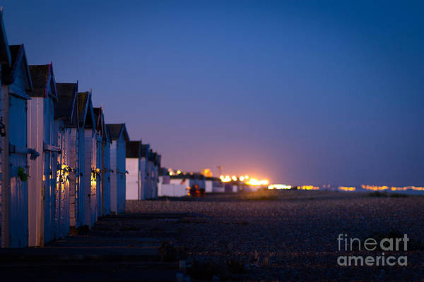 Beach Huts Art Print featuring the photograph The Beach At Night by Philip Payne