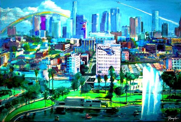 Los Angeles Art Print featuring the painting The City Of Angels by Rom Galicia