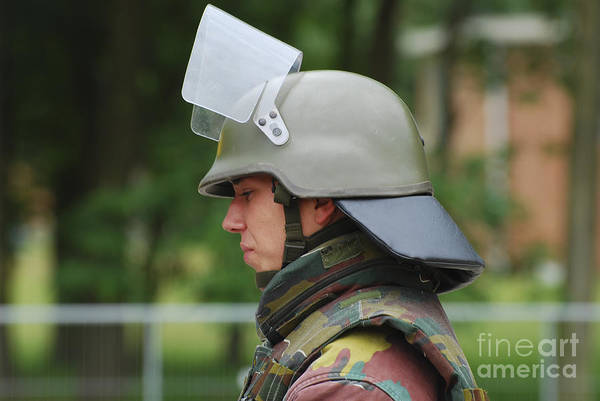 Belgium Art Print featuring the photograph The Helmet And Visor Used by Luc De Jaeger