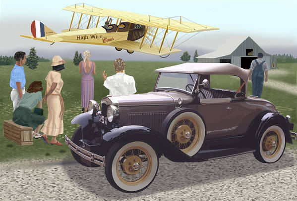 A Model A Owner And His Girl Stop To View A Curtis Jenny Do Its Stunts. Art Print featuring the digital art The Last Barnstormer by Richard Herron