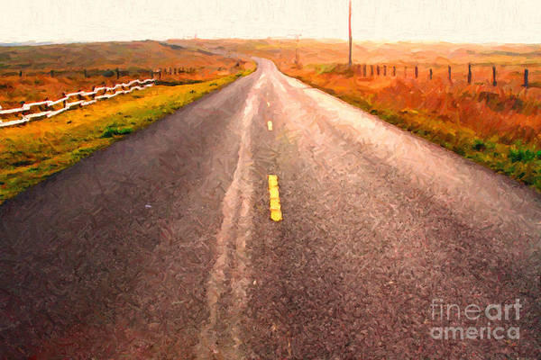 Philosophical Art Print featuring the photograph The Long Road Home . Painterly Style by Wingsdomain Art and Photography