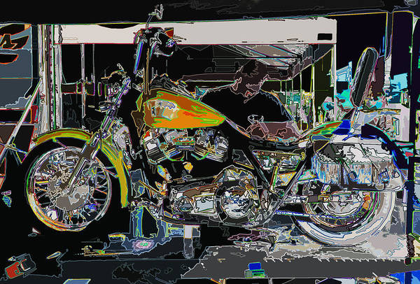 abstract art print featuring the photograph the motorcycle mechanic by samuel sheats