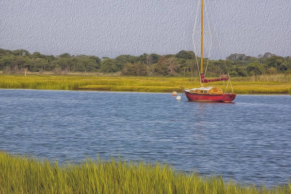 Red Sailboat Cape May Harbor Art Print featuring the photograph The Red Boat by Tom Singleton