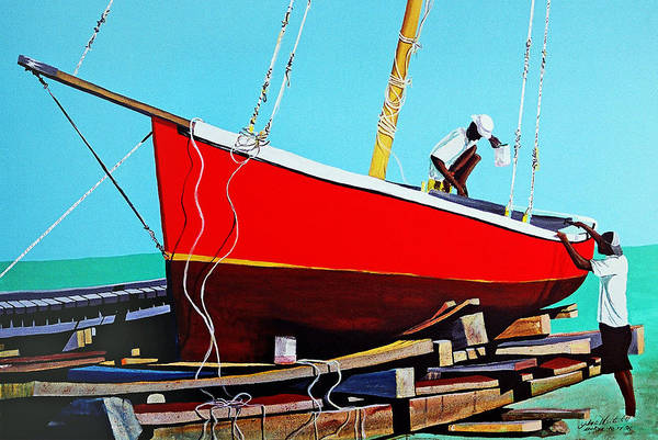 Caribbean Sail Boat In Belize Art Print featuring the painting The Rum Punch by John Westerhold