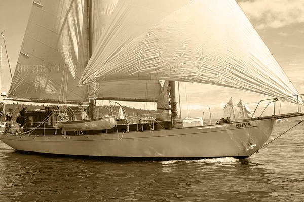 Sailboat Art Print featuring the photograph The Suva In Sepia by Kym Backland