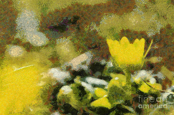 Odon Art Print featuring the painting The Yellow Flower by Odon Czintos