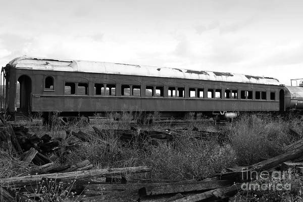 Black And White Art Print featuring the photograph This Old Train Has Seen Better Days . Black And White . 7d8994 by Wingsdomain Art and Photography