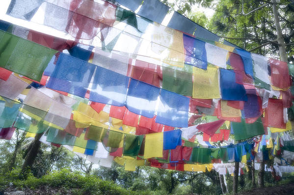 Horizontal Art Print featuring the photograph Tibetan Buddhist Prayer Flags by Glen Allison