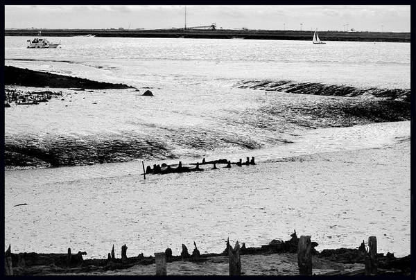 Monochrome Art Print featuring the photograph Tides On The Wane. by Terence Davis