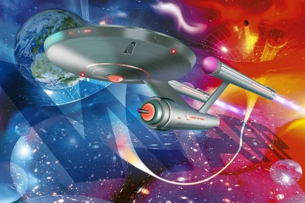 Artwork Art Print featuring the photograph Time Travelling Spacecraft, Artwork by Detlev Van Ravenswaay