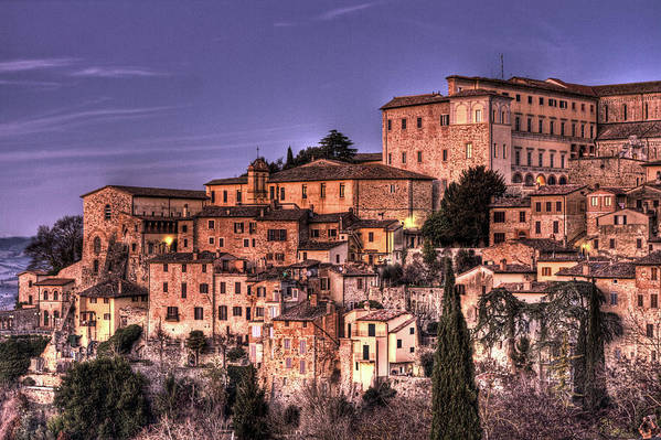Todi Art Print featuring the photograph Todi At Sunset by Andrea Barbieri