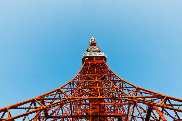 Architecture Art Print featuring the photograph Tokyo Tower Faces Blue Sky by Ulrich Schade