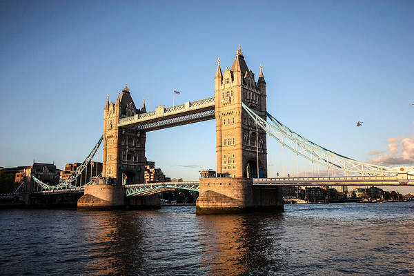 Dawn Oconnor Dawnoconnorphotos@gmail.com Art Print featuring the photograph Tower Bridge And Helicopter by Dawn OConnor