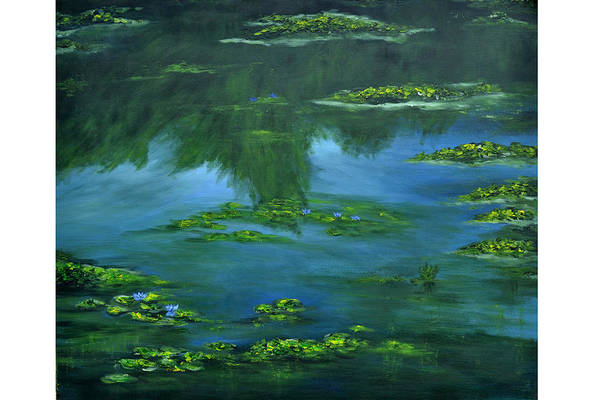Lily Art Print featuring the painting Tribute To Monet 2 by Shankhadeep Bhattacharya