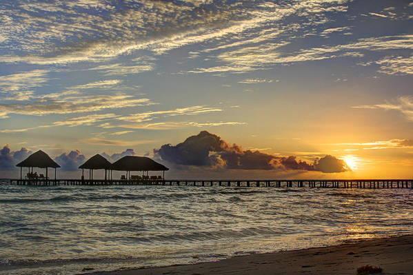 Ocean Art Print featuring the photograph Tropical Ocean Sunset by Nick Jene