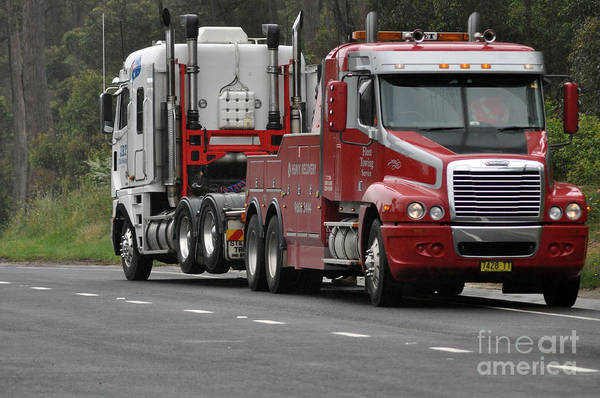 Truck Art Print featuring the photograph Truck Tow by Joanne Kocwin