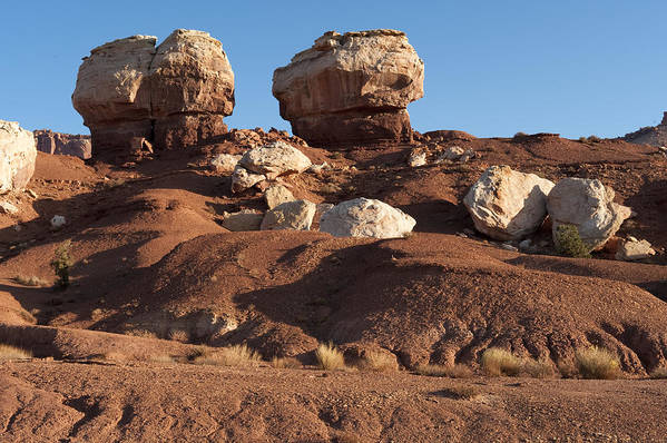 Capitol Reef Art Print featuring the photograph Twin Rocks Capitol Reef Np by Sandra Bronstein