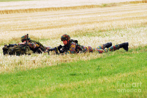 Ambush Art Print featuring the photograph Two Soldiers Of The Belgian Army by Luc De Jaeger