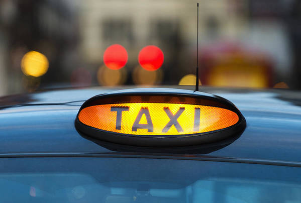 Horizontal Art Print featuring the photograph Uk, England, London, Sign On Taxi Cab by Tetra Images