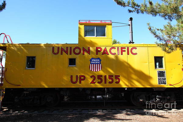 Transportation Art Print featuring the photograph Union Pacific Caboose - 5d19206 by Wingsdomain Art and Photography