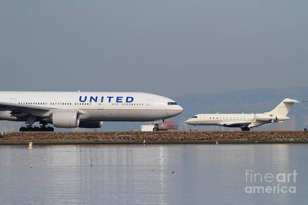 United Art Print featuring the photograph United Airlines Jet Airplane At San Francisco International Airport Sfo . 7d12081 by Wingsdomain Art and Photography