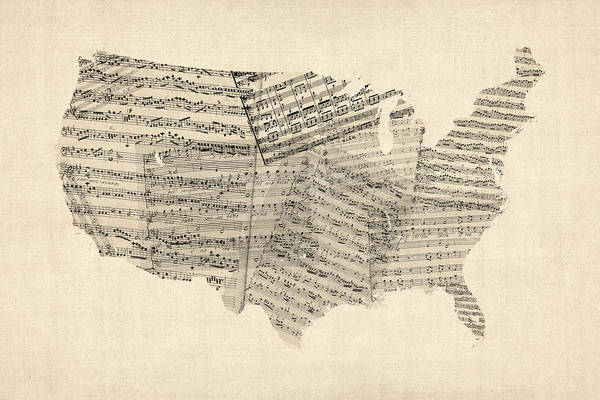 United States Map Art Print featuring the digital art United States Old Sheet Music Map by Michael Tompsett