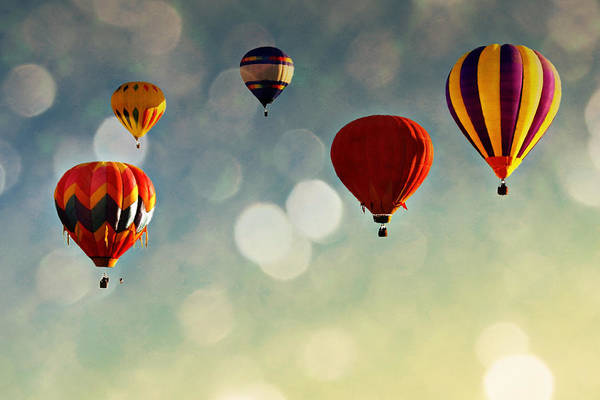 Hot Air Balloons Art Print featuring the photograph Up There by Stacey Granger