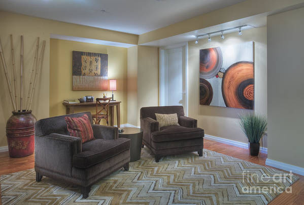 Abstract Print featuring the photograph Upscale Living Room Interior by Andersen Ross