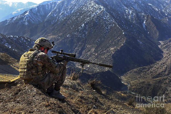 Us Army Art Print featuring the photograph U.s. Army Sniper Provides Security by Stocktrek Images