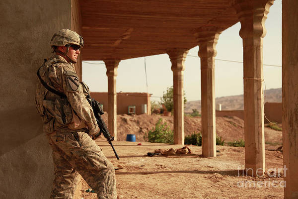 Iraq Art Print featuring the photograph U.s. Army Soldier Pulls Security by Stocktrek Images