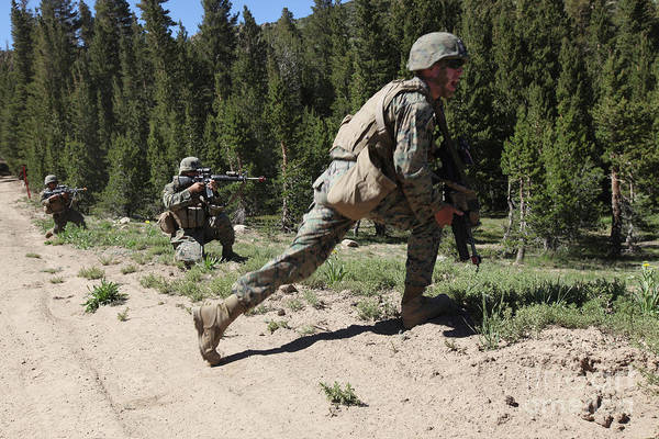 Training Print featuring the photograph U.s. Marines Training At The Mountain by Stocktrek Images