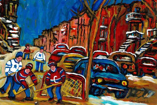 Streets Of Verdun Hockey Paintings By Montreal Artist Carole Spandau Art Print featuring the painting Verdun Rowhouses With Hockey - Paintings Of Verdun Montreal Street Scenes In Winter by Carole Spandau