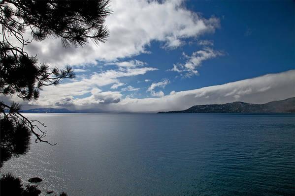 Lake Art Print featuring the digital art View Of Lake Tahoe by Joe Fernandez