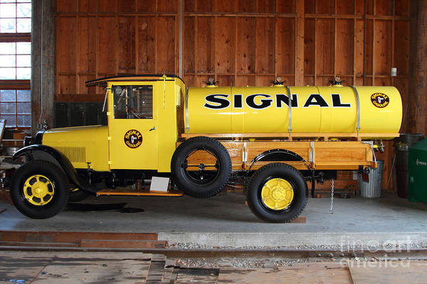 Transportation Art Print featuring the photograph Vintage Signal Gasoline Truck . 7d12935 by Wingsdomain Art and Photography